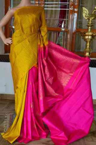 Stimulating Yellow Pink Color  Soft Silk Saree - cnd829
