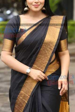 Adorning Black Colored Designer Soft Silk Navratri Special Saree - CD263