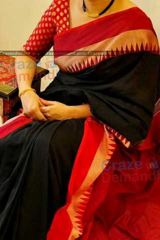 Delightful Black-Red Colored Karwa Chauth Special Soft Silk Festive Wear Saree - CD346