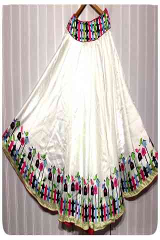 Innovative White Color Satin Silk Printed Free Size Lehenga - CG106