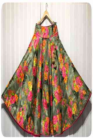 Delightful Multi Color Satin Silk Printed Free Size Lehenga - CG107