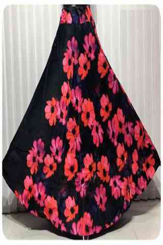 Attractive Black Color Satin Silk Printed Free Size Lehenga - CG137