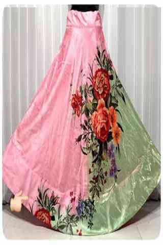 Stylish Pink Color Satin Silk Printed Free Size Lehenga - CG141