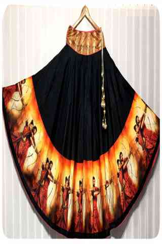 Admirable Black Color Satin Silk Printed Free Size Lehenga - CG149