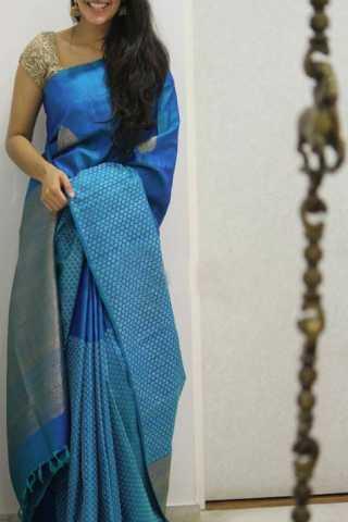 Ethnic Blue Color Soft Silk Designer Sarees - CND1304