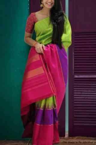 Elegent Multi Color Soft Silk Designer Wear Saree - Cnd575