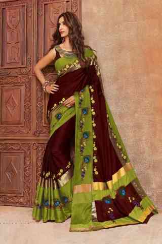 Fabulous Brown Color Cotton Silk Embroidered Sarees with Blouse