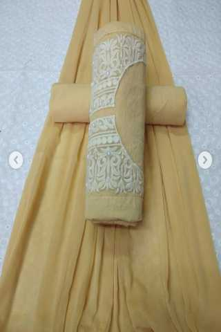 Classic Beige Colored Embroidered Pattern Cotton Dress Material - CTMBGE 30""