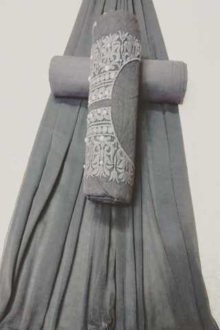 Attractive Grey Colored Embroidered Pattern Cotton Dress Material - CTMGry 30""