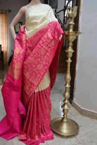 Modern White n Pink Color Soft Silk Designer Sarees - cnd705