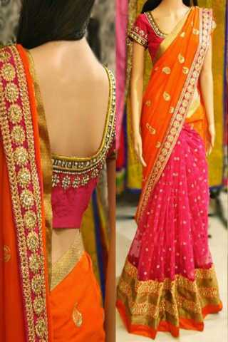 Orange-Pink Party Wear Embroidered Half And Half Georgette Saree