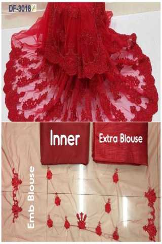 Alluring Red Mono Net With Heavy Emb. Pallu Skirt Saree  - NXMONORED