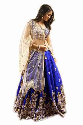 Fashionable Blue Color Embroidered Lehenga Choli For Women