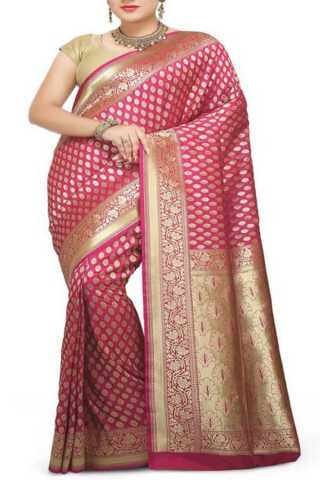 Charming Pink  Colored Traditional Soft Silk Festive Wear Saree - CD289