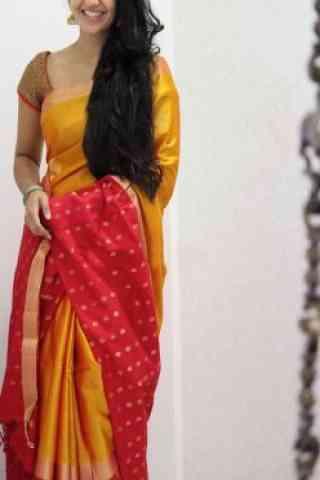 Refreshing Yellow  Color Soft Silk Designer Sarees - cnd1032