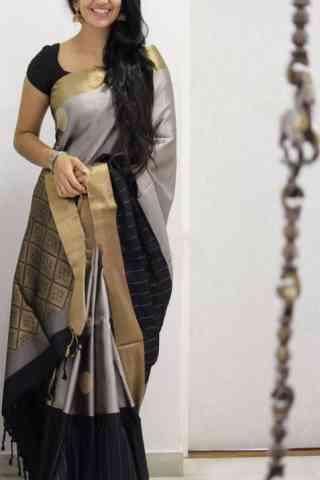 Refreshing Grey And Black Color Soft Silk Designer Sarees - cnd1033