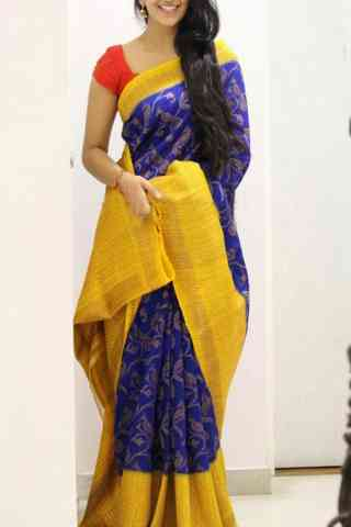 Vibrant Yellow And Blue  Color Soft Silk Designer Sarees - cnd1043