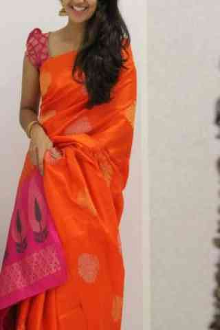 Glammrous Orange Color Soft Silk Designer Wear Saree - cnd1104