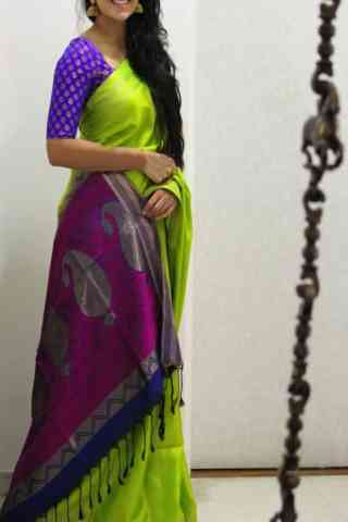 Fabulous Green Color Soft Silk Designer Sarees - cnd670