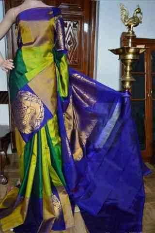 Modern Green Color Soft Silk Designer Sarees - SB930