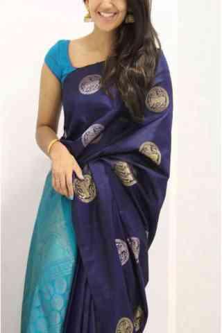 Graceful Blue Color Soft Silk Designer Sarees - cnd984