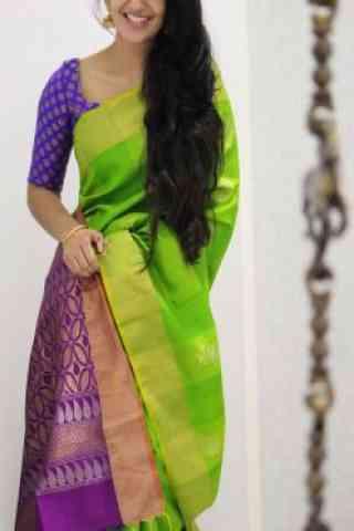 Graceful Green Color Soft Silk Designer Sarees - cnd986