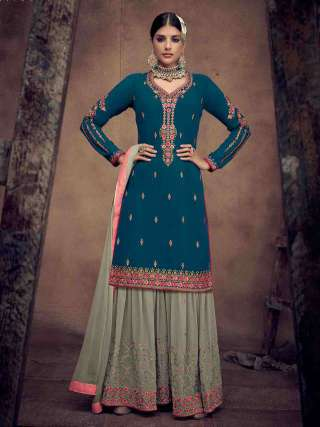 Rama Blue Semistitched Heavy Faux Georgette Top With Heavy Embroidery Stitched Sarara Suits
