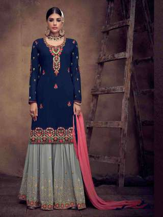 Blue Semistitched Heavy Faux Georgette Top With Heavy Embroidery Stitched Sarara Suits