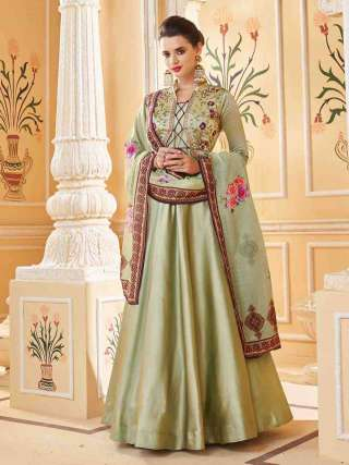 Green Heavy Soft Silk Stitched Top With Dull Santoon Semistitched Bottom Floor Length Anarkali Suit