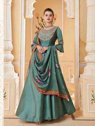 Teal Heavy Soft Silk Stitched Top With Dull Santoon Semistitched Bottom Floor Length Anarkali Suit