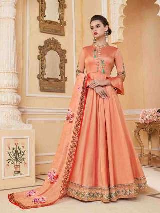 Orange Heavy Soft Silk Stitched Top With Dull Santoon Semistitched Bottom Floor Length Anarkali Suit