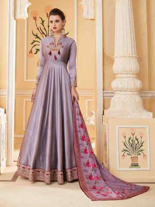 Purple Heavy Soft Silk Stitched Top With Dull Santoon Semistitched Bottom Floor Length Anarkali Suit