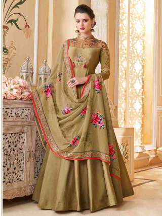 Beige Heavy Soft Silk Stitched Top With Dull Santoon Semistitched Bottom Floor Length Anarkali Suit