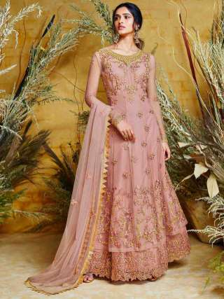 Onion Pink Heavy Butterfly Net Embroidered Stitched Top With Semi Stitched Santoon Bottom
