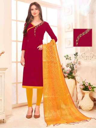 Maroon Slub Cotton Hand Work Top With Cotton Bottom Casual Wear Dress Material