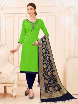 Green Slub Cotton Hand Work Top With Cotton Bottom Casual Wear Dress Material