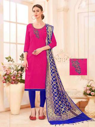 Pink Slub Cotton Hand Work Top With Cotton Bottom Casual Wear Dress Material