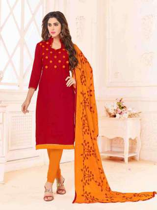 Red Slub Cotton With Choli Work With Cotton Bottom Dress Material