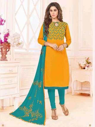 Mustard Yellow Slub Cotton With Choli Work With Cotton Bottom Dress Material