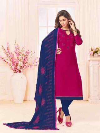 Magenta Slub Cotton With Choli Work With Cotton Bottom Dress Material