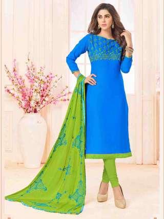 Sky Blue Slub Cotton With Choli Work With Cotton Bottom Dress Material
