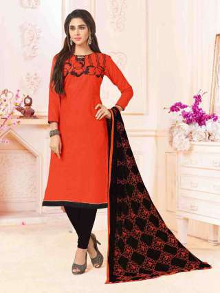 Red Color Slub Cotton With Choli Work With Cotton Bottom Dress Material