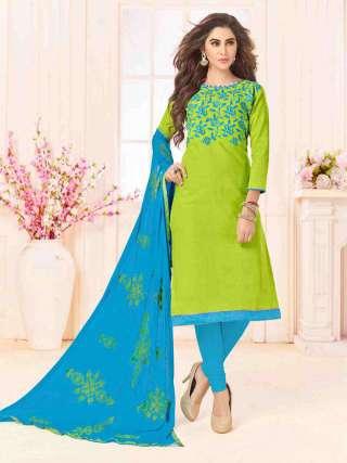 Green Slub Cotton With Choli Work With Cotton Bottom Dress Material