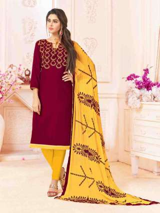 Dark Maroon Slub Cotton With Choli Work With Cotton Bottom Dress Material