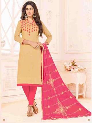 Beige Slub Cotton With Choli Work With Cotton Bottom Dress Material