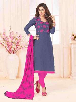 Grey Slub Cotton With Choli Work With Cotton Bottom Dress Material