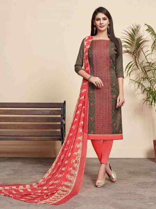 Dark Beige Lakda Jacquard Fabric Top With Cotton Bottom Casual Wear Dress Material
