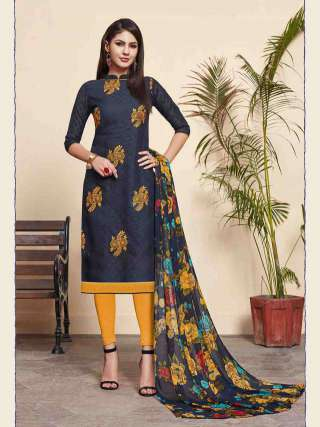 Blue Lakda Jacquard Fabric Top With Cotton Bottom Casual Wear Dress Material