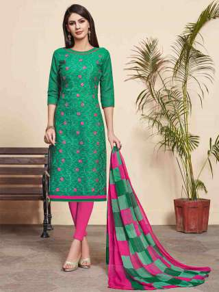 Green Lakda Jacquard Fabric Top With Cotton Bottom Casual Wear Dress Material