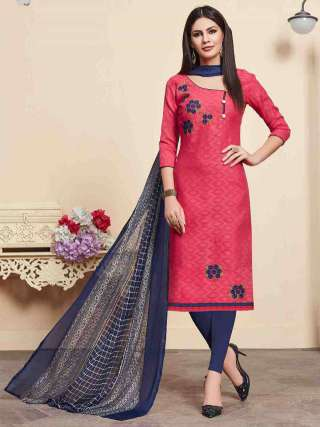Pink Lakda Jacquard Fabric Top With Cotton Bottom Casual Wear Dress Material